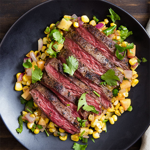 Rump Steak With Warm Spicy Peach & Salsa