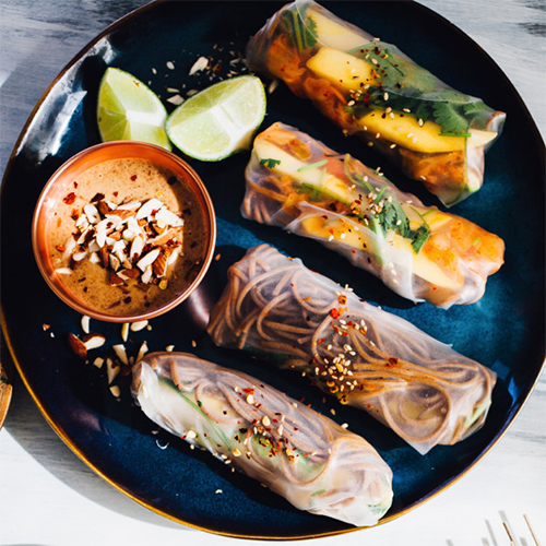 MANGO, KIMCHI & SOBA SUMMER ROLLS WITH ALMOND MISO DIPPING SAUCE