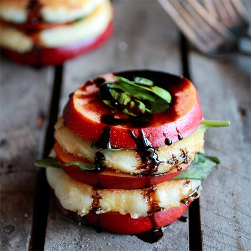 Nectarine, Fried Mozzarella & Basil Stacks with Balsamic Glaze