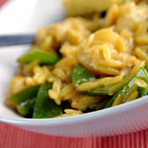Banana, tofu and sugar snap pea risotto