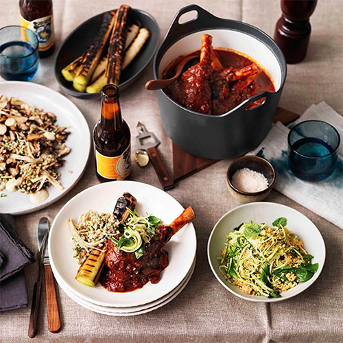 BRAISED LAMB SHANKS, BURNT LEEKS AND ZUCCHINI SALAD