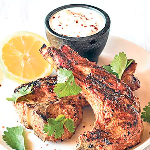 BBQ yogurt-marinated lamb chops