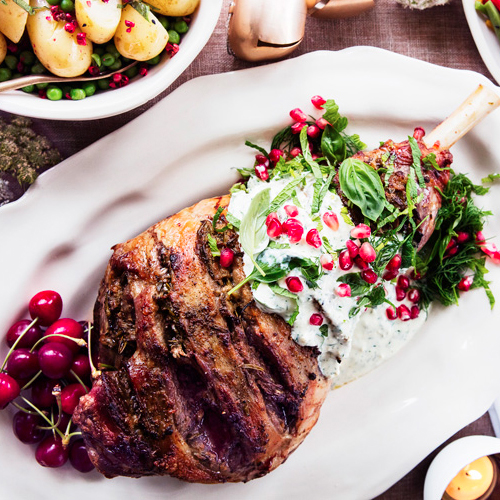 FESTIVE LEG OF LAMB WITH MINTY FETA SAUCE