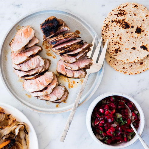 Pork Fajitas with Smoky Cherry Salsa