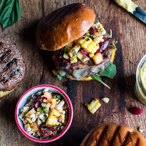 Brie Stuffed Burgers With Sweet Chilli Corn Salsa