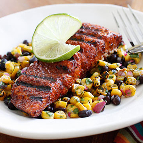 Smoky Spice Rubbed BBQ Salmon with Black Beans and Corn