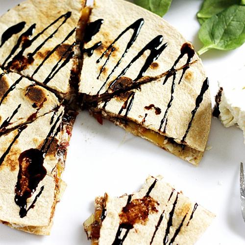 Caramelised Nectarine & Feta Quesadilla w. Balsamic Glaze