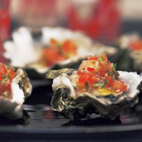 Oysters with Chorizo Crumb & Tomato, Chilli & Coriander Salsa
