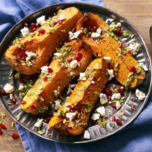 Butternut Pumpkin w. Persian Pistachio Pesto, Feta & Pomegranate