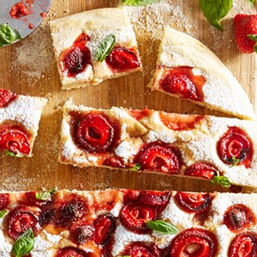 Sweet Strawberry Focaccia With Basil