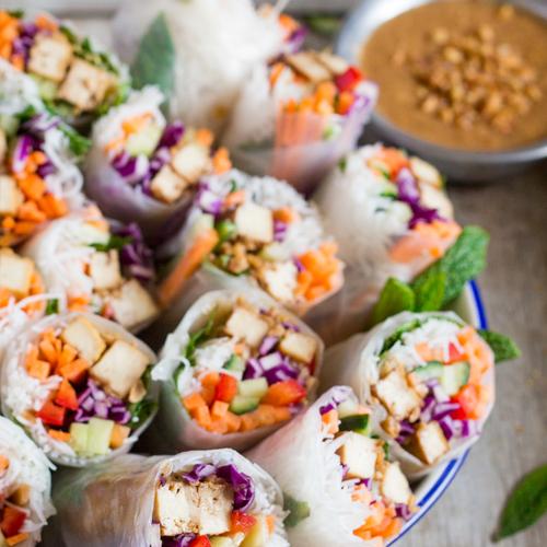 Avocado Mushroom & Noodle Rice Paper Spring Rolls